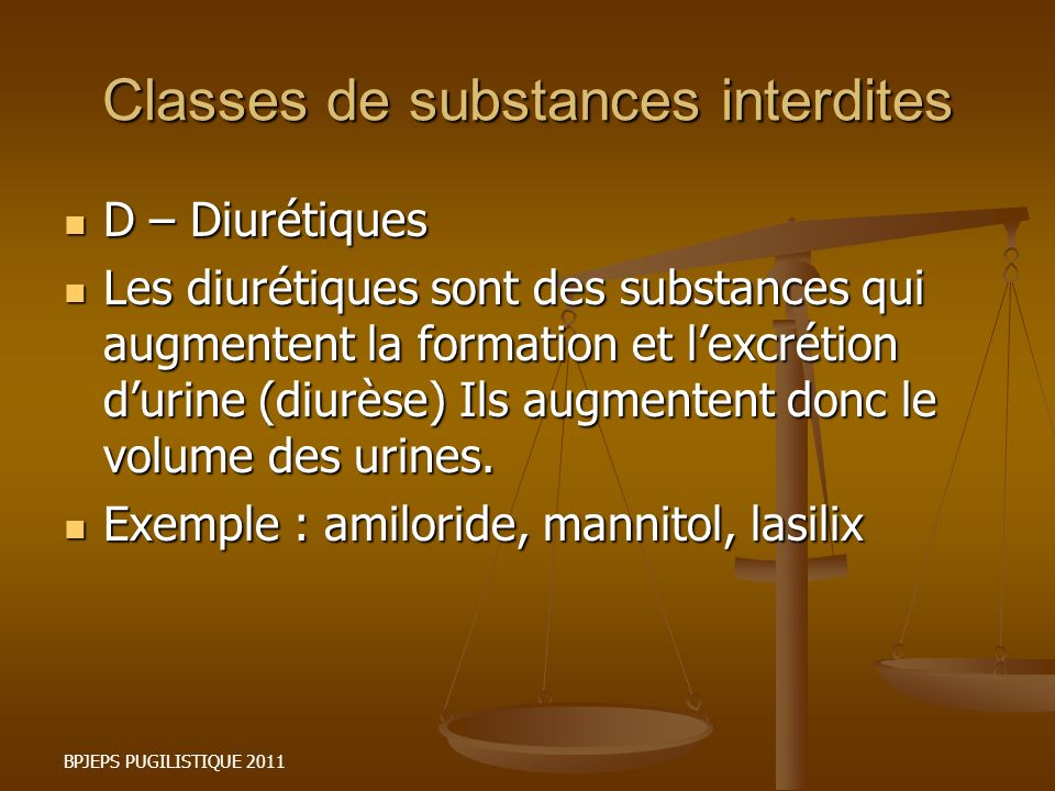 Classes de substances interdites
