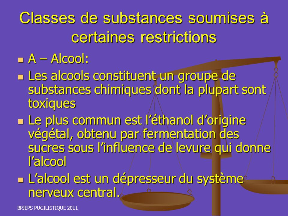 Classes de substances soumises à certaines restrictions