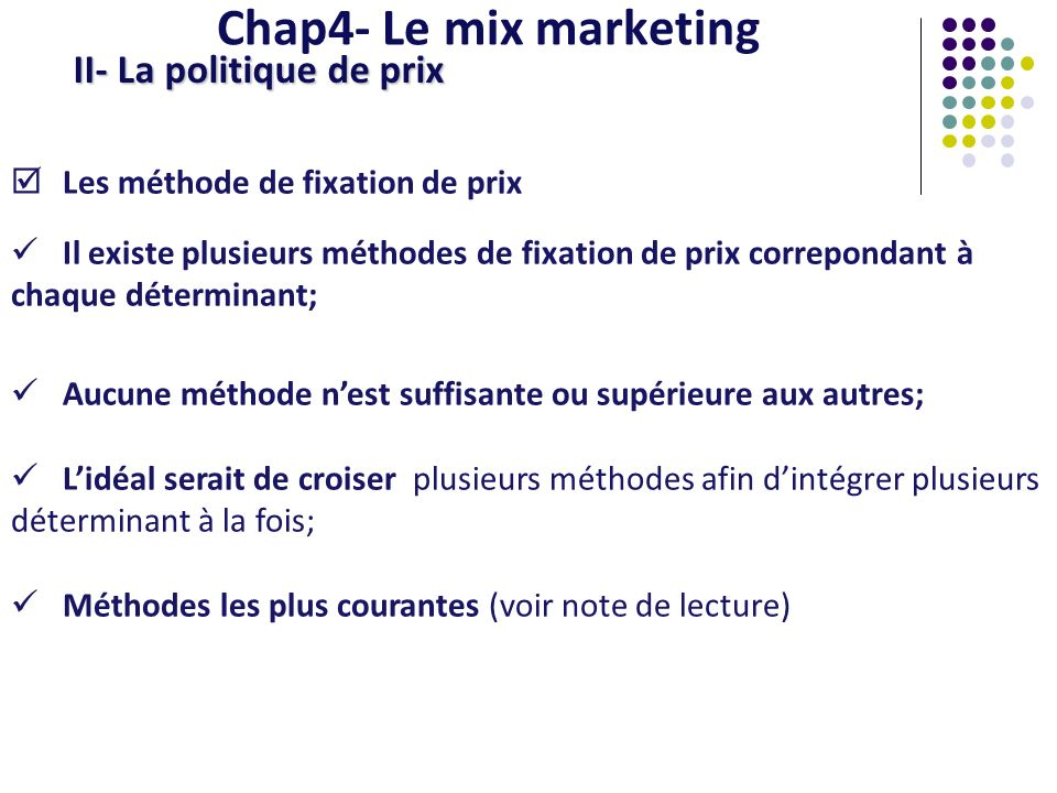 Chap4- Le mix marketing II- La politique de prix