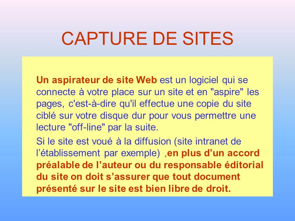 CAPTURE DE SITES