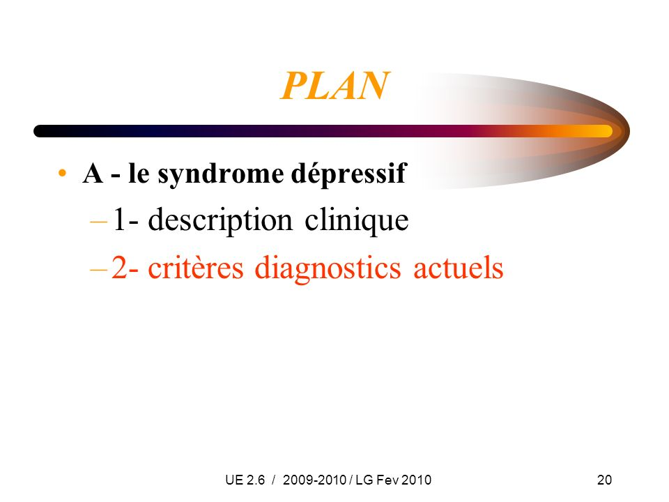 PLAN 1- description clinique 2- critères diagnostics actuels