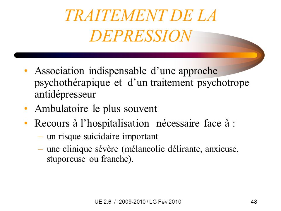 TRAITEMENT DE LA DEPRESSION