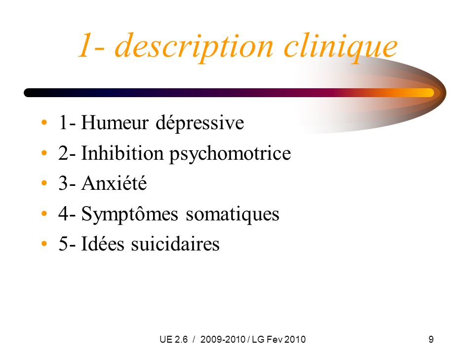 1- description clinique