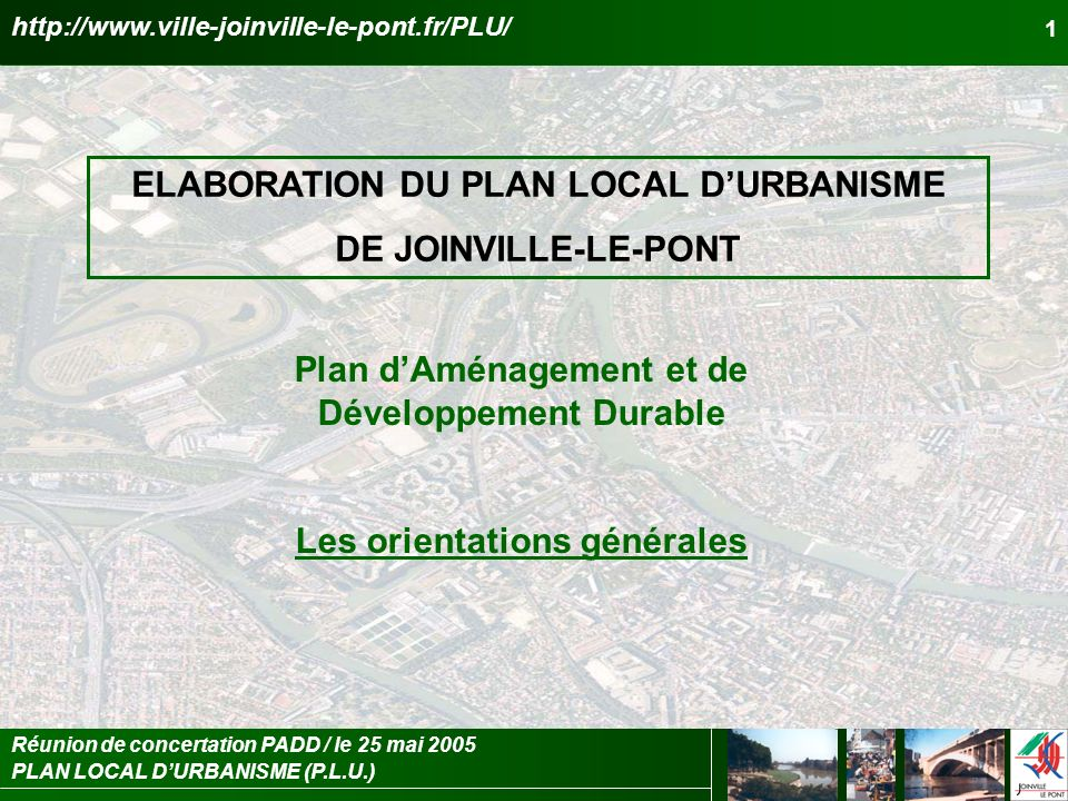 ELABORATION DU PLAN LOCAL D'URBANISME DE JOINVILLE-LE-PONT