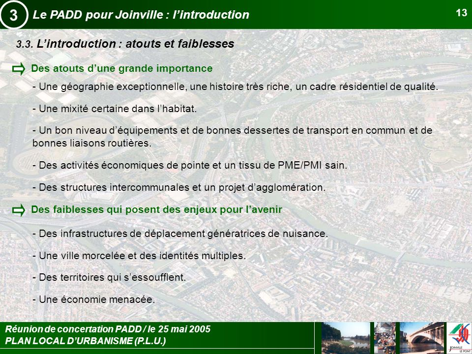 3 Le PADD pour Joinville : l'introduction