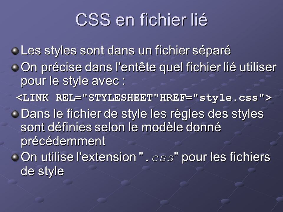 <LINK REL= STYLESHEET HREF= style.css >