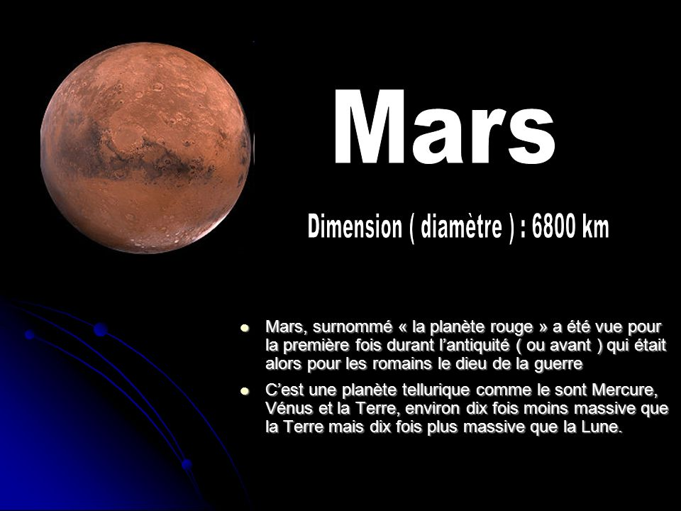 Dimension ( diamètre ) : 6800 km