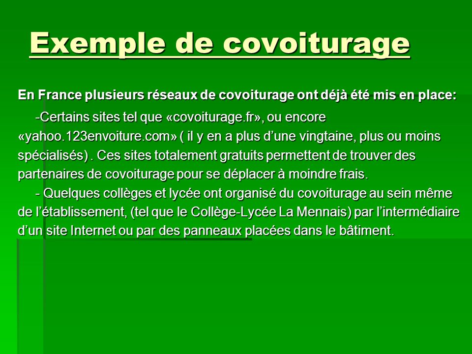 Exemple de covoiturage