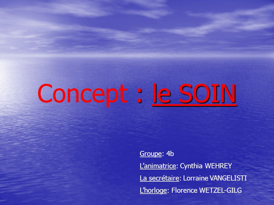 Concept : le SOIN Groupe: 4b L'animatrice: Cynthia WEHREY