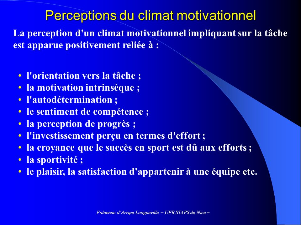 Perceptions du climat motivationnel