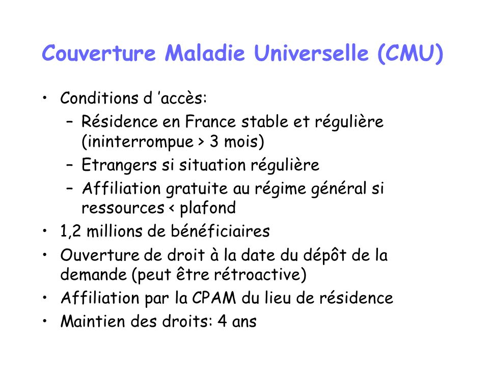 Couverture Maladie Universelle (CMU)