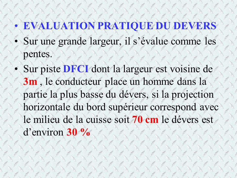EVALUATION PRATIQUE DU DEVERS