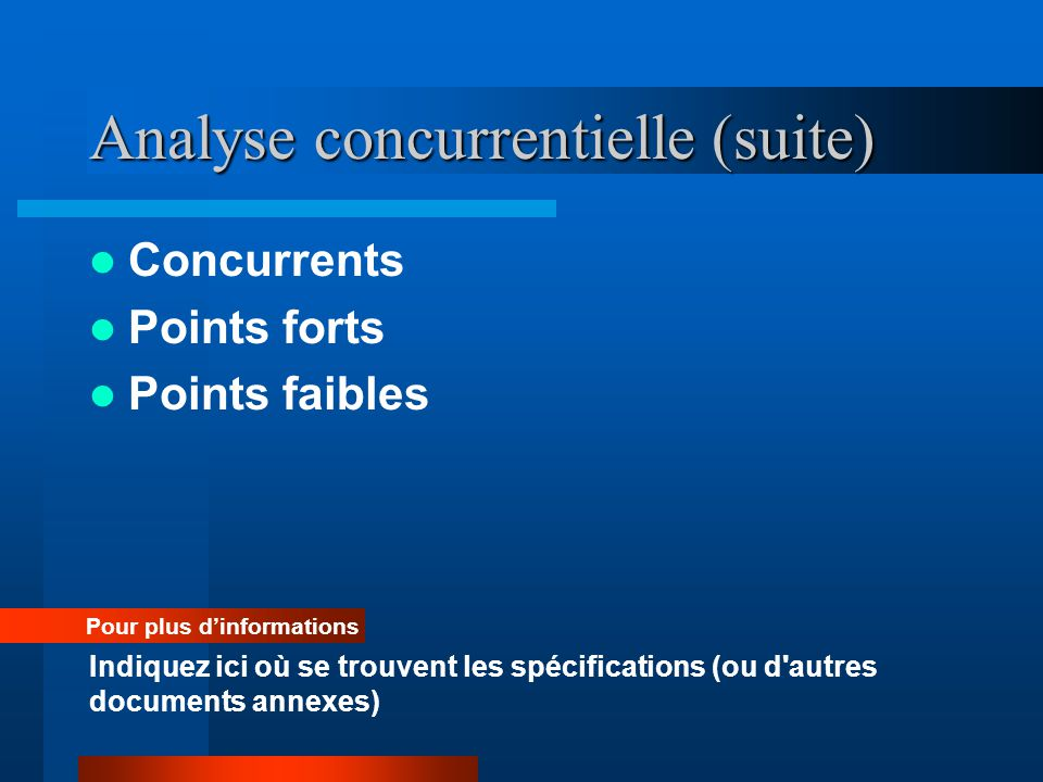 Analyse concurrentielle (suite)