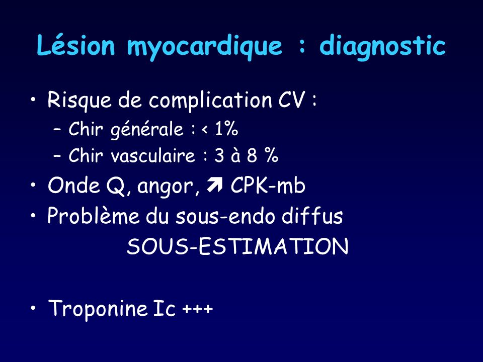 Lésion myocardique : diagnostic