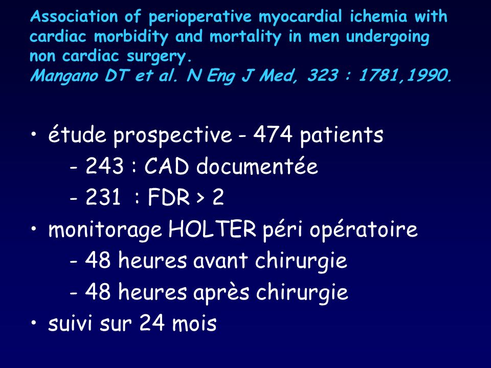 étude prospective patients : CAD documentée