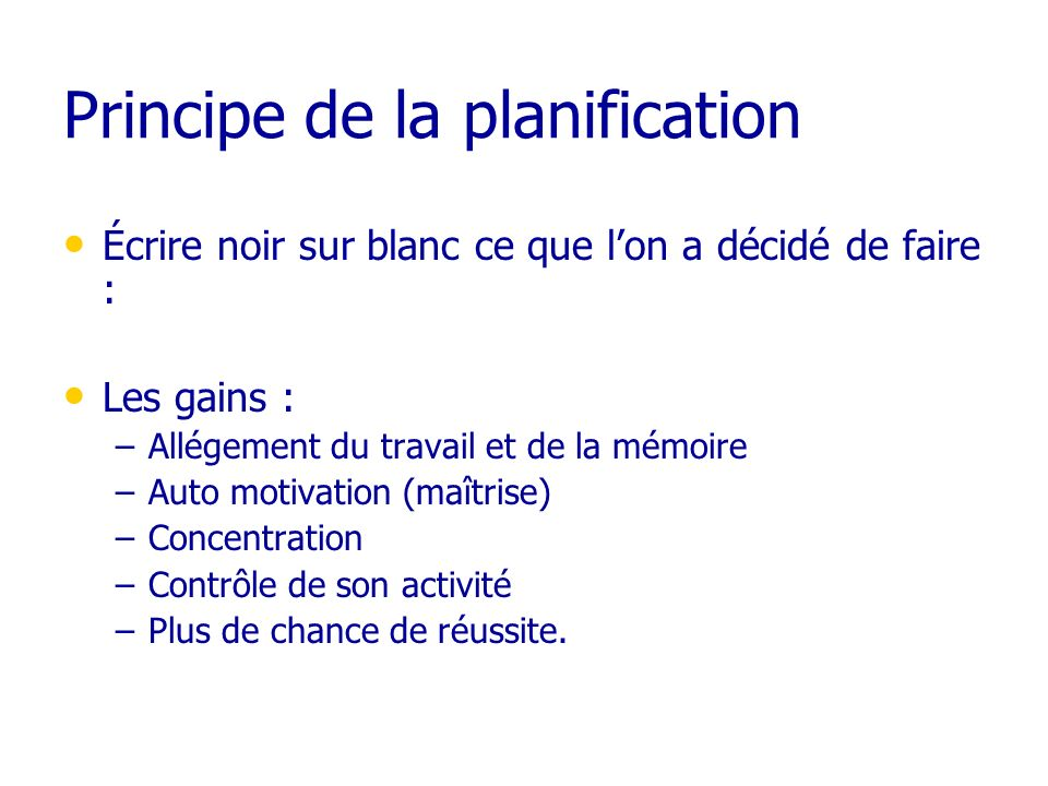 Principe de la planification
