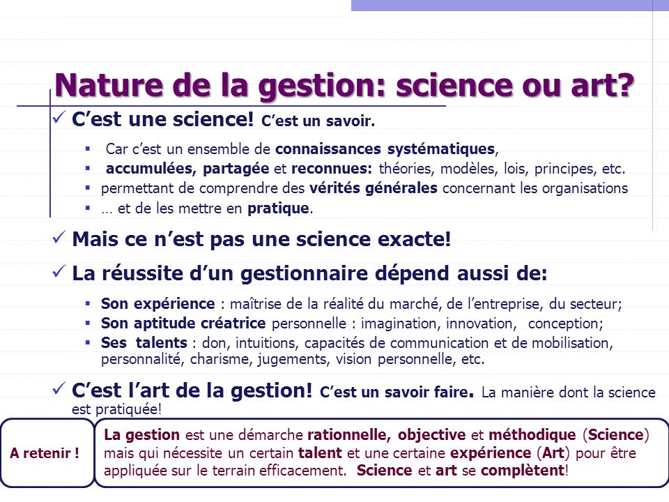 Nature de la gestion: science ou art