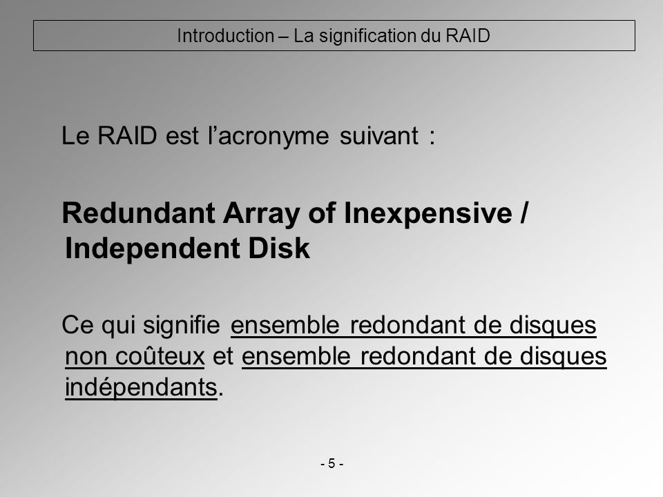 Introduction – La signification du RAID