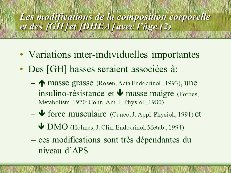 Variations inter-individuelles importantes