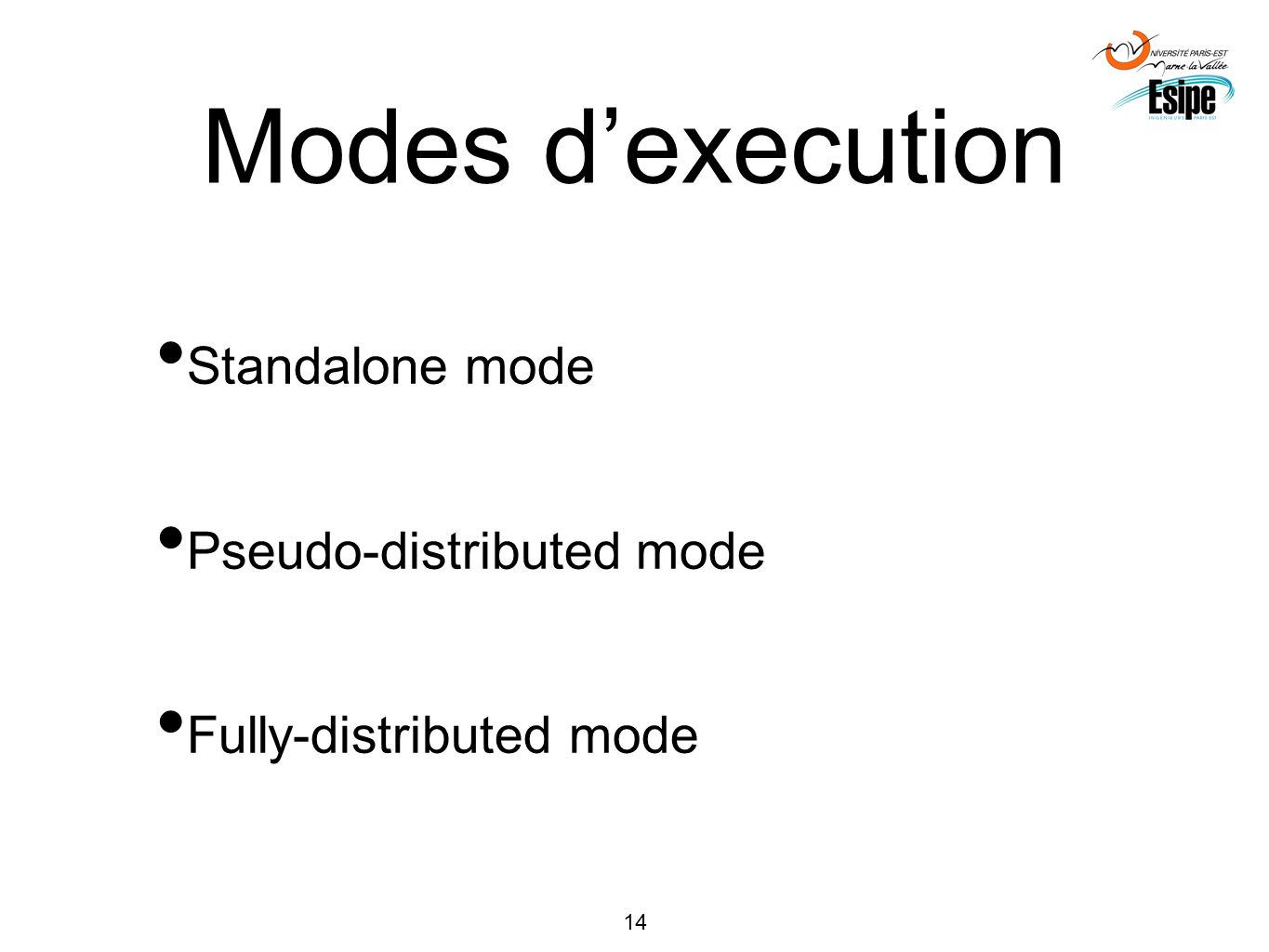 Modes d'execution Standalone mode Pseudo-distributed mode