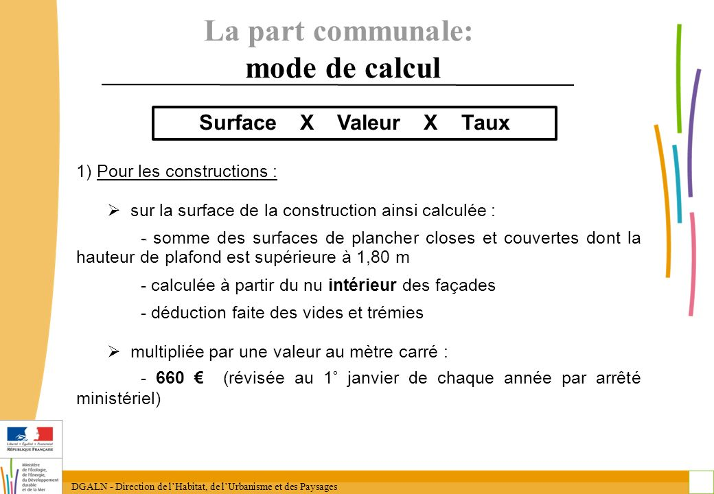 La part communale: mode de calcul