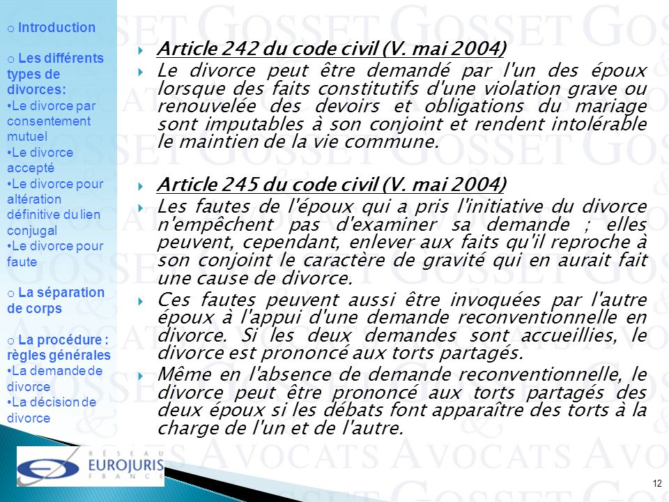 Article 242 du code civil (V. mai 2004)