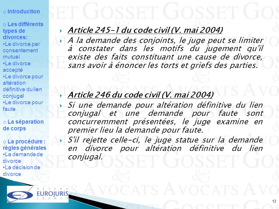 Article du code civil (V. mai 2004)