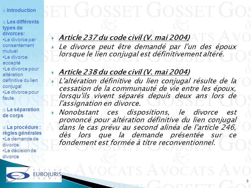 Article 237 du code civil (V. mai 2004)