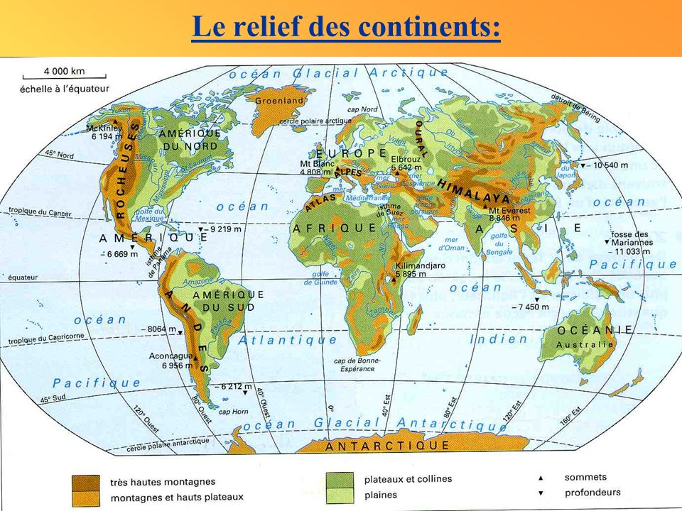 Le relief des continents: