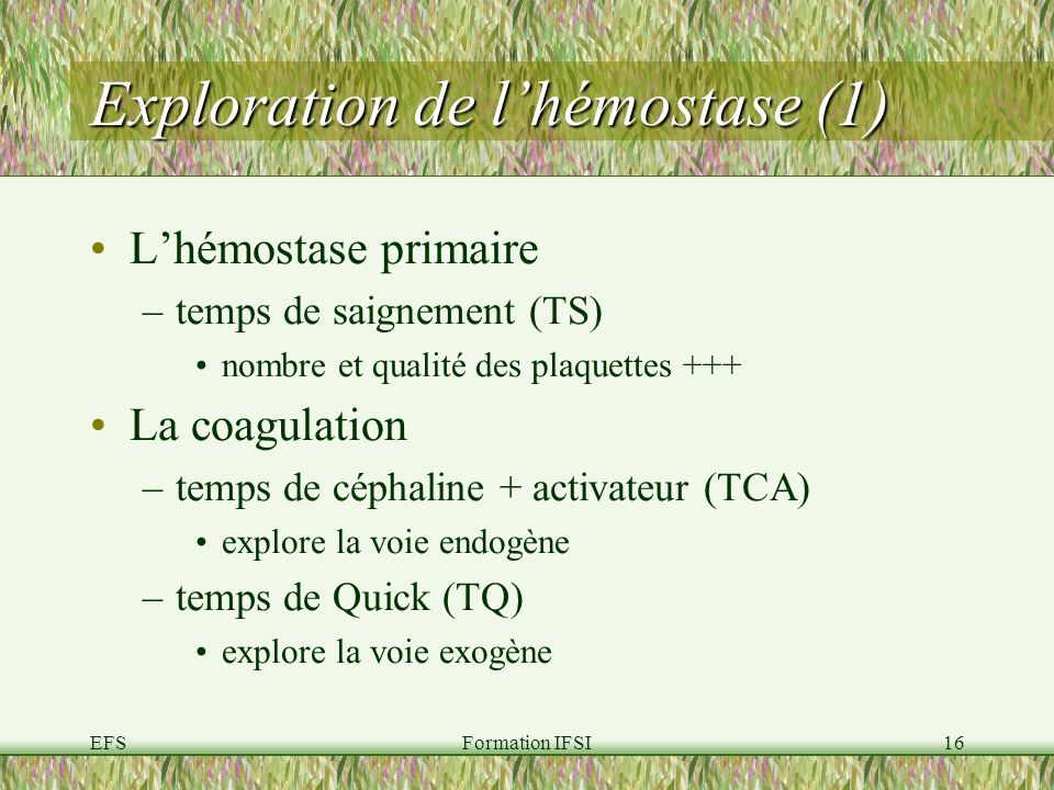 Exploration de l'hémostase (1)