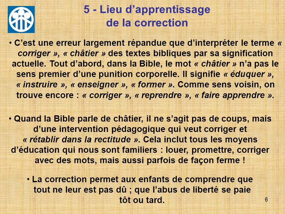 5 - Lieu d'apprentissage de la correction