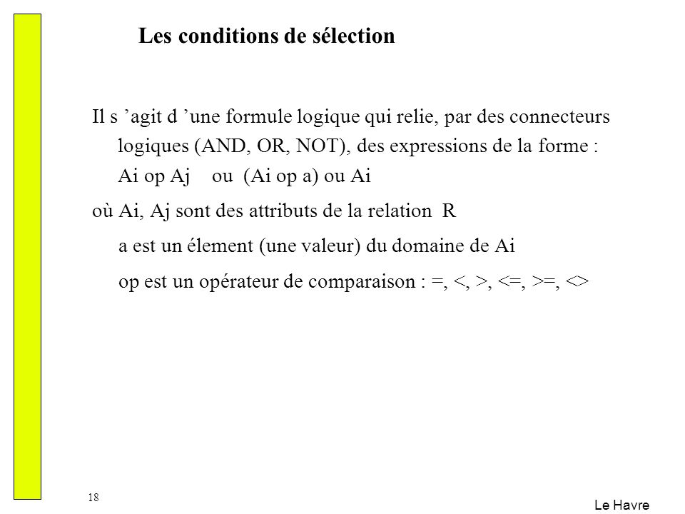 Les conditions de sélection