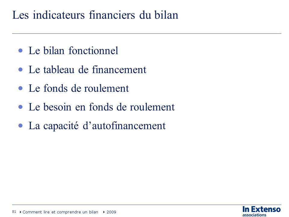 Les indicateurs financiers du bilan
