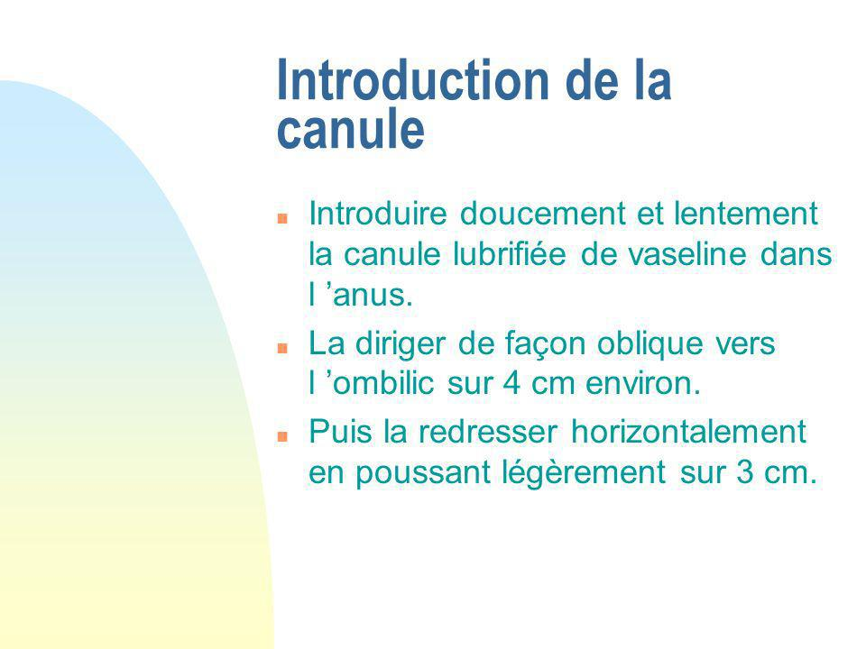 Introduction de la canule