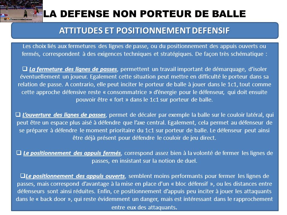 ATTITUDES ET POSITIONNEMENT DEFENSIF