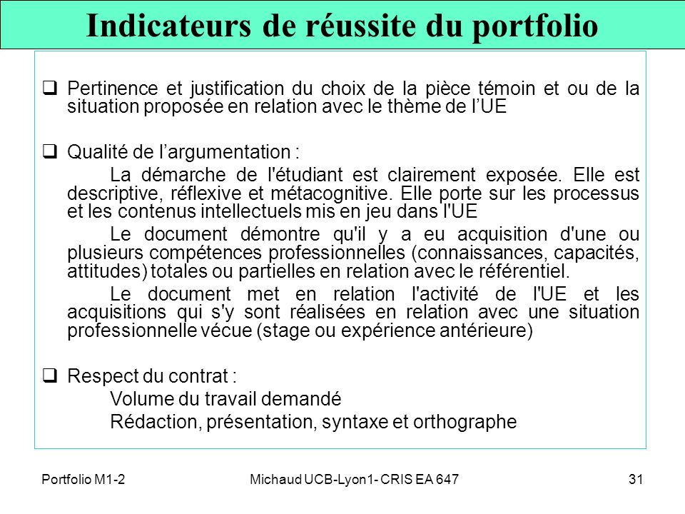 Indicateurs de réussite du portfolio