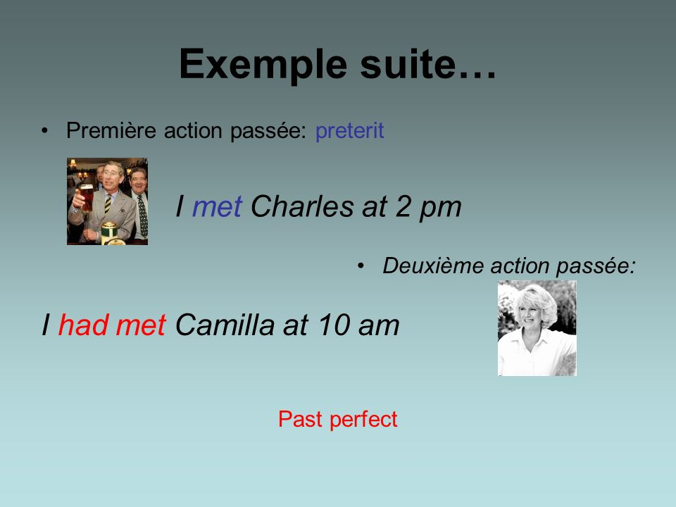 Exemple suite… I met Charles at 2 pm I had met Camilla at 10 am