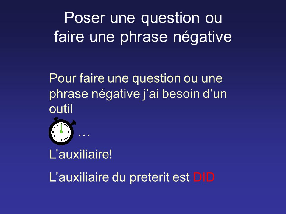 Poser une question ou faire une phrase négative