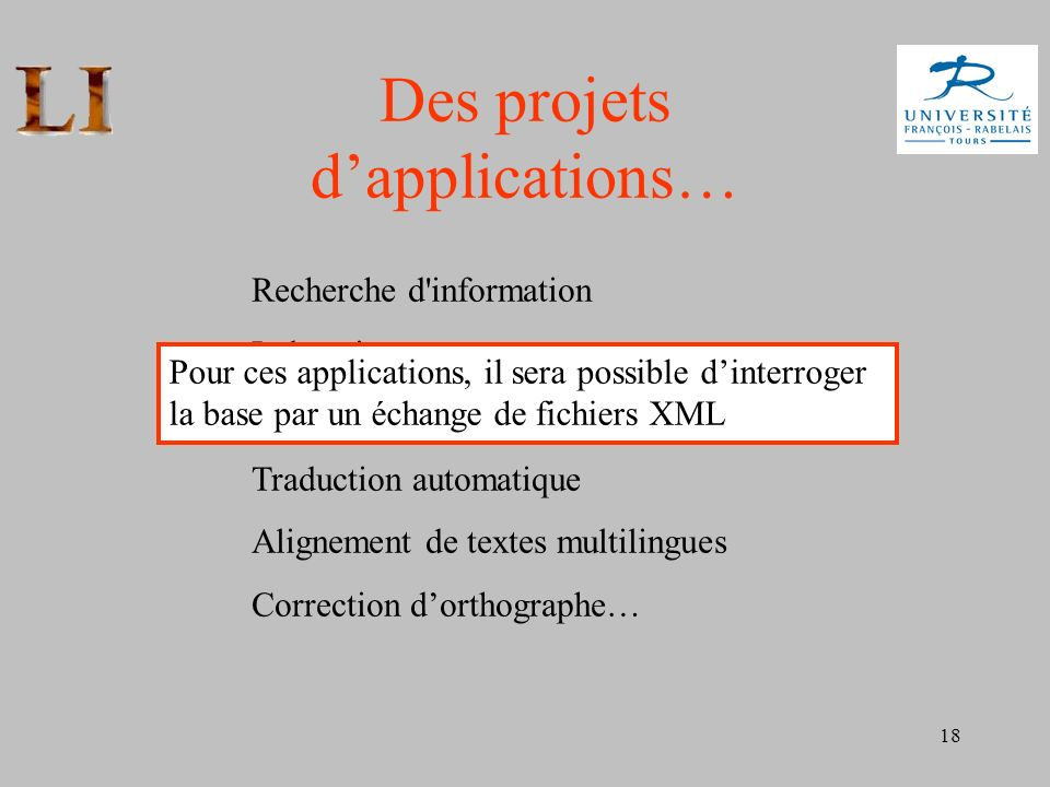 Des projets d'applications…