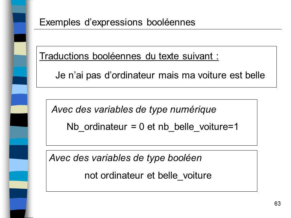 Exemples d'expressions booléennes
