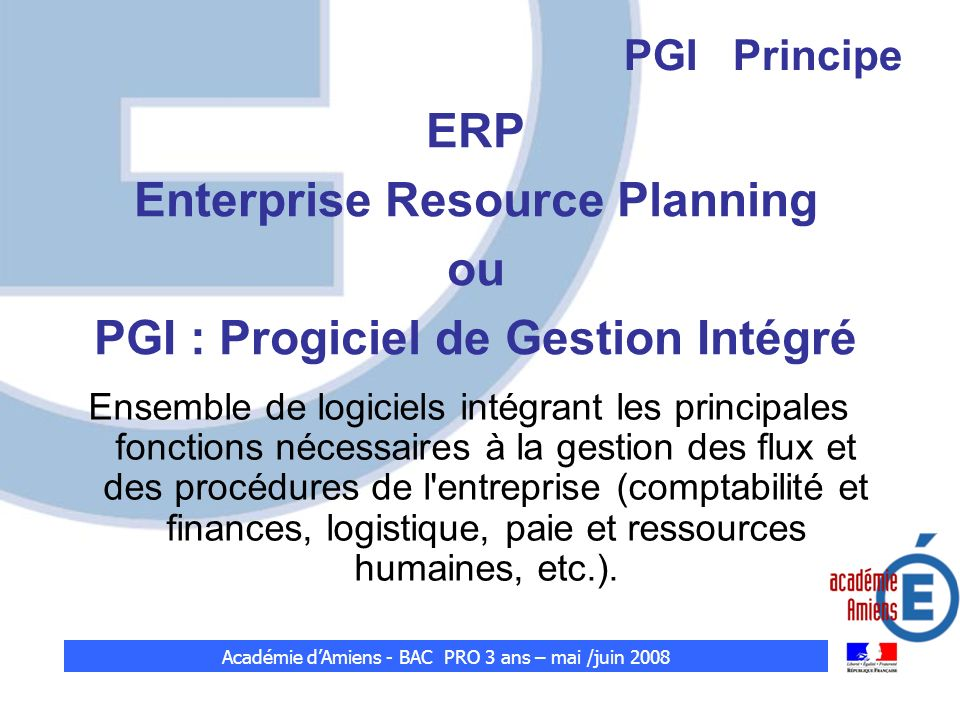 Enterprise Resource Planning PGI : Progiciel de Gestion Intégré