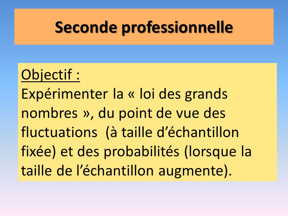 Seconde professionnelle
