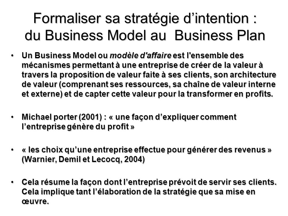 Formaliser sa stratégie d'intention : du Business Model au Business Plan