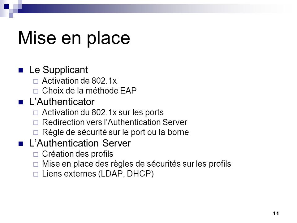 Mise en place Le Supplicant L'Authenticator L'Authentication Server