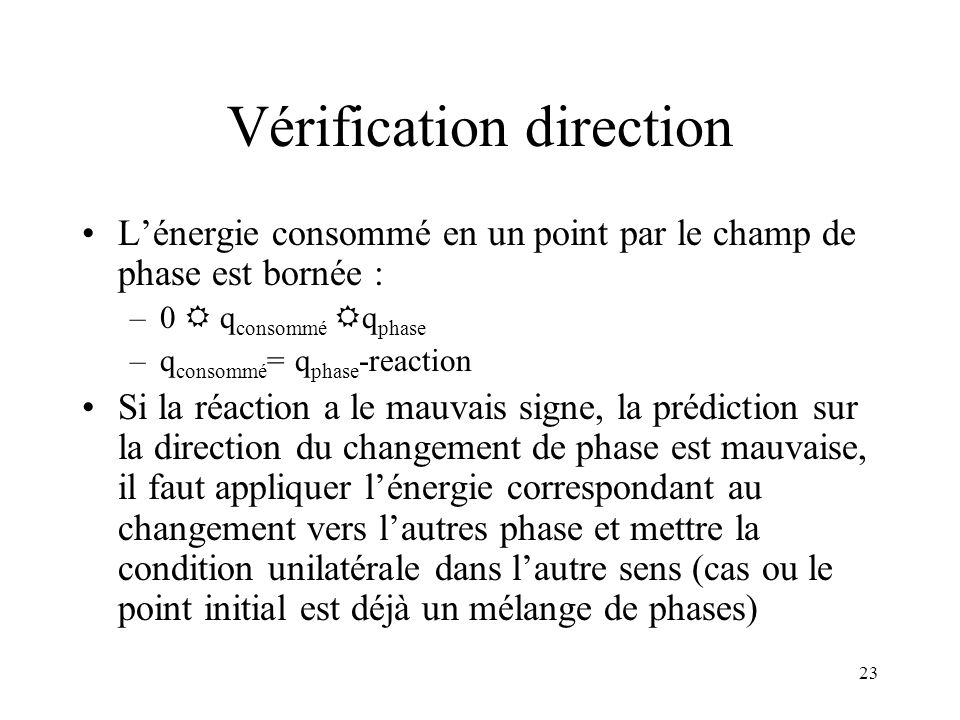 Vérification direction