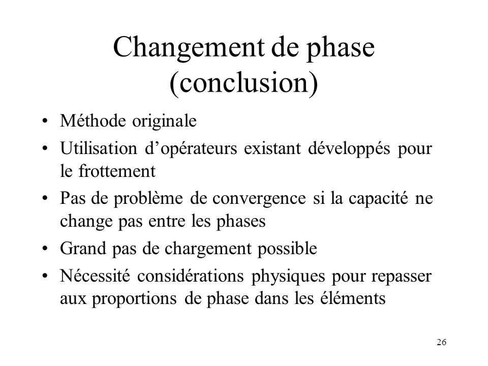 Changement de phase (conclusion)