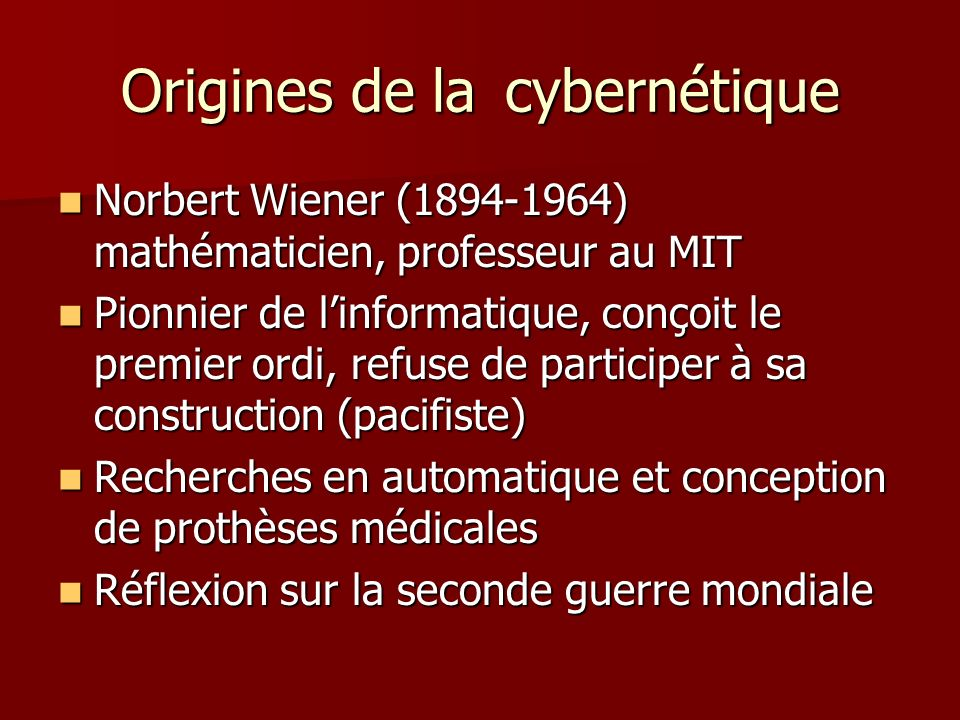 Origines de la cybernétique