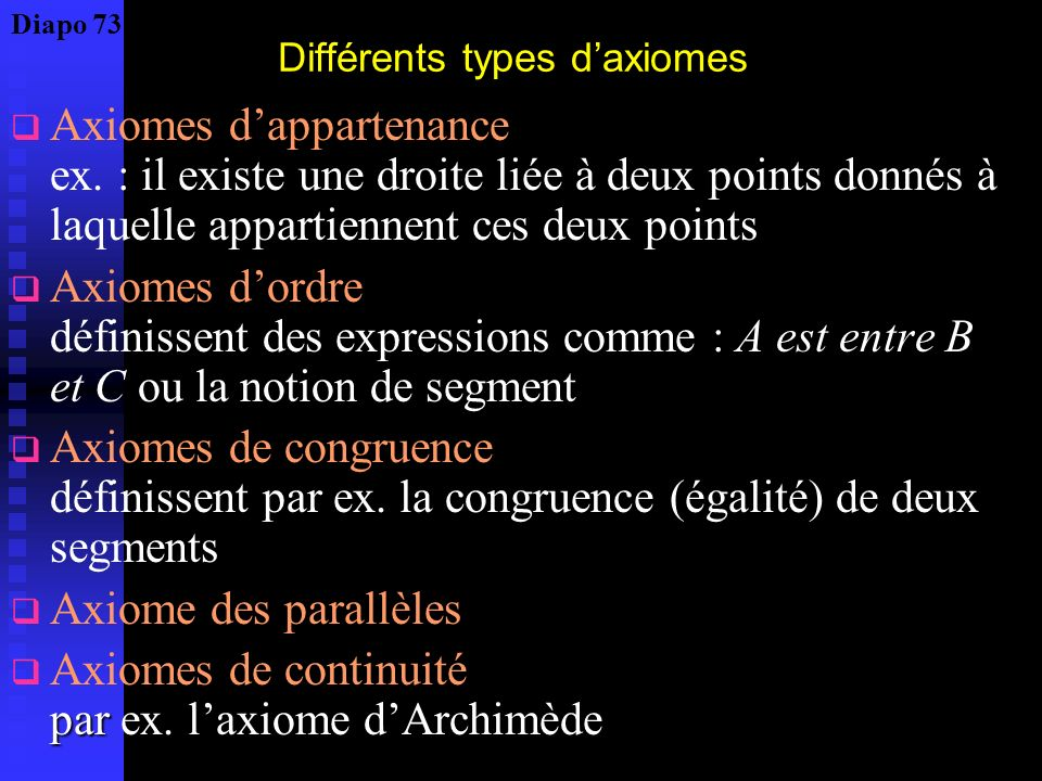Différents types d'axiomes