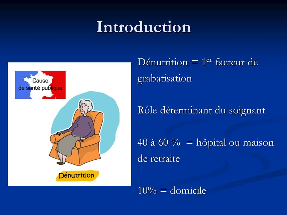 Introduction Dénutrition = 1er facteur de grabatisation