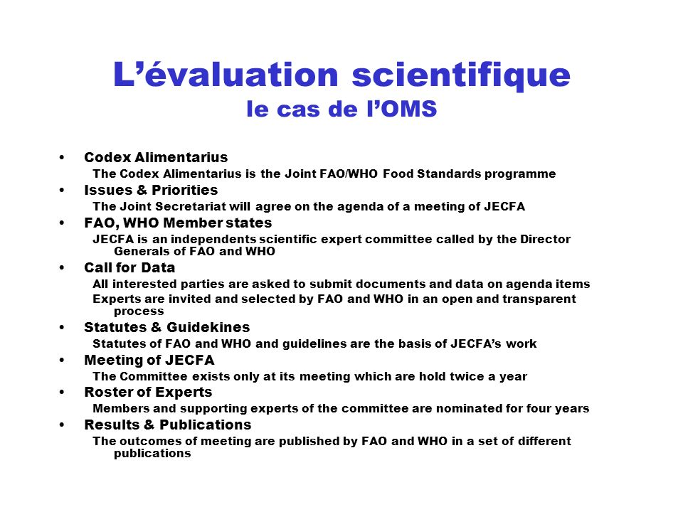 L'évaluation scientifique le cas de l'OMS